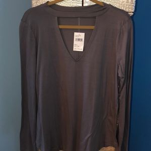 Charcoal colored long sleeve T from Dry Goods